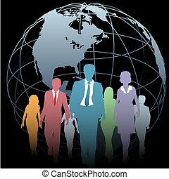 geschäftsmenschen, globus weltweit, schwarz, erde