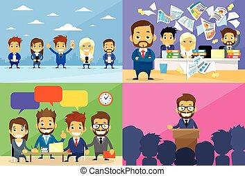 geschäftsmenschen, gruppe, arbeitstag, kommunikation, konferenz