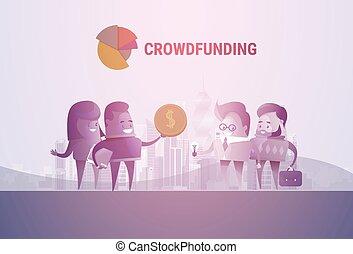 geschäftsmenschen, gruppe, crowd, finanzierung, investition, begriff