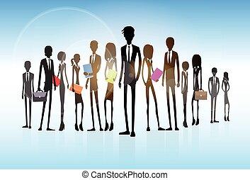 geschäftsmenschen, gruppe, silhouette, geschäftsführung , mannschaft