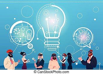 geschäftsmenschen, gruppe, tragen, digital, wirklichkeit, brille, unterhaltung, blasen, neue idee, start, diskussion, begriff