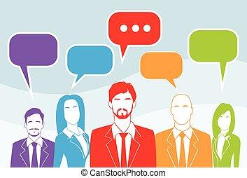 geschäftsmenschen, gruppe, unterhaltung, bunte, kommunikation