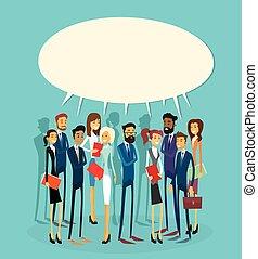 geschäftsmenschen, gruppe, unterhaltung, kommunikation, blase, begriff