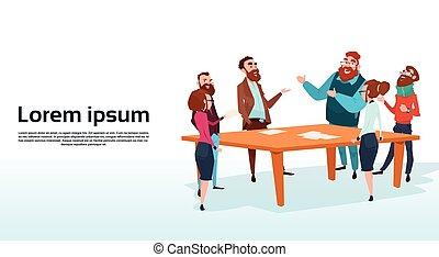 geschäftsmenschen, gruppe, versammlung, businesspeople, sprechende , besprechen, kommunikation