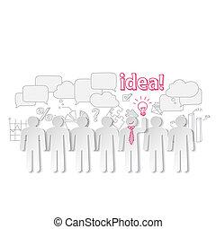 geschäftsmenschen, kommunikation, gemeinschaftsarbeit, idee, vektor