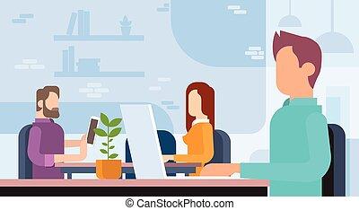 geschäftsmenschen, mannschaft, arbeitende , arbeitsplatz, coworking, buero