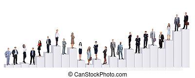geschäftsmenschen, mannschaft, und, diagram., freigestellt, aus, weißer hintergrund