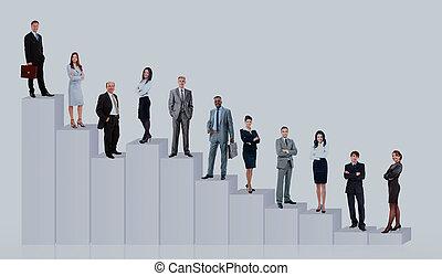 geschäftsmenschen, mannschaft, und, diagram., freigestellt, aus, weißes, hintergrund.