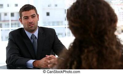 geschäftsmenschen, nach, ein, interview
