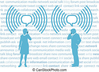 geschäftsmenschen, smartphone, g4, wifi, sozial, vernetzung