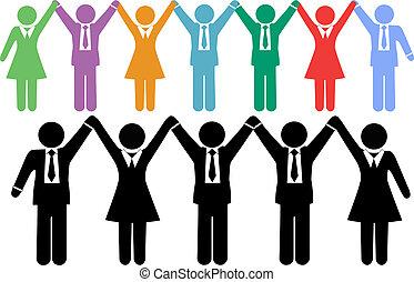 geschäftsmenschen, symbole, halten hände, feiern