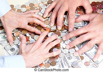 geschäftsmenschen, und, geld