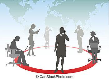 geschäftsmenschen, verbinden, klug, telefon, berühren, edv, tablette, laptop, in, a, medien, vernetzung