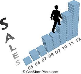 geschäftsperson, klettert, auf, marketing, finanzkurzve