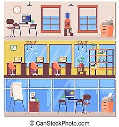 geschäftsraum, arbeitsplatz, innere, buero, wohnung, set., vektor, illustrationen