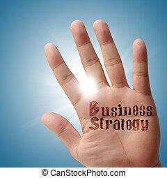 geschäftsstrategie, auf, seine, hand