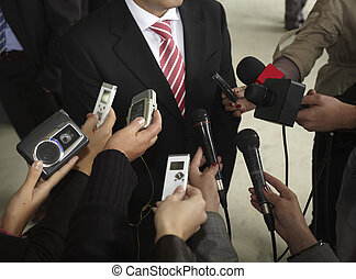 geschäftstreffen, konferenz, journalismus, mikrophone
