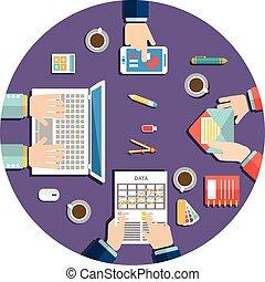 geschäftstreffen, und, brainstorming., wohnung, design