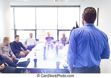 geschäftsvorstellung, auf, korporativ, meeting.