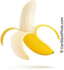 geschälte banane, hälfte