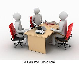 geschaeftswelt, arbeit, versammlung, interview, mann, 3d