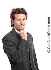 geschaeftswelt, attraktive, junger mann, mit, a, hand kinn