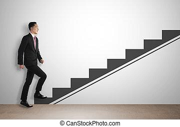 geschaeftswelt, auf, treten, eingebildet, treppe, mann