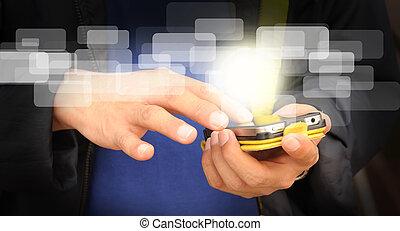 geschaeftswelt, beweglich, schirm, hand, telefon, berühren, mann