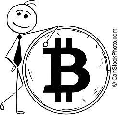 geschaeftswelt, bitcoin, abbildung, groß, lehnend, lächeln, muenze, karikatur, mann