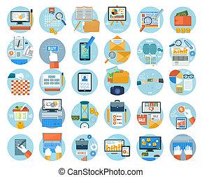 geschaeftswelt, buero, und, marketing, posten, icons.