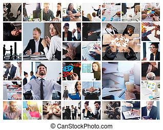 geschaeftswelt, collage, mit, szene, von, geschäftsperson, am arbeitsplatz