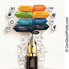 geschaeftswelt, concept., kugelschreiber, blase, vortrag halten , pfeil, template., buechse, sein, gebraucht, für, workflow, plan, diagramm, zahl, optionen, treten, auf, optionen, netz- design, banner, schablone, infographic.