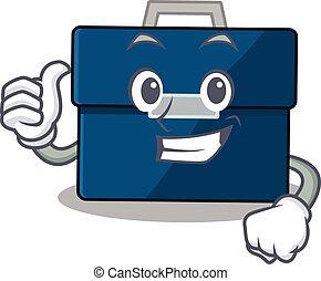geschaeftswelt, design, ausstellung, koffer, zeichen, ok, finger, karikatur
