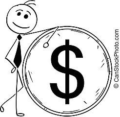 geschaeftswelt, dollar, abbildung, groß, lehnend, lächeln, muenze, karikatur, mann