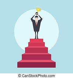 geschaeftswelt, erfolgreich, oberseite, geschäftsmann, trophy., treppe, concept.