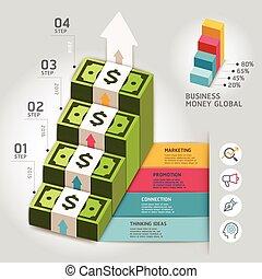 geschaeftswelt, geld, global, pfeil, treppenaufgang, template., buechse, sein, gebraucht, für, workflow, plan, banner, zahl, optionen, diagramm, netz- design, infographics, timeline, template.