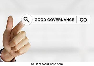 geschaeftswelt, hand, klicken, guten, regierungsgewalt, taste, auf, durchsuchung, toolbar