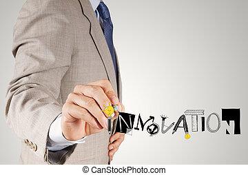 geschaeftswelt, hand, zeichnung, graphischer entwurf, innovation, wort, als, begriff
