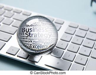 geschaeftswelt, ikone, in, kristall ball, weiß, computertastatur