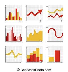 geschaeftswelt, infographic, bunte, tabellen, und, diagramme, satz