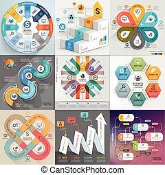 geschaeftswelt, infographic, schablone, set., buechse, sein, gebraucht, für, workflow, plan, banner, diagramm, zahl, optionen, netz- design, timeline, elemente