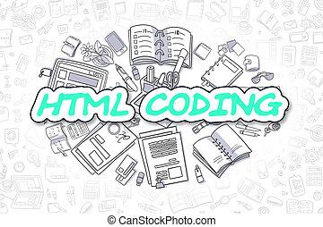 geschaeftswelt, kodierung, concept., word., -, html, grün, karikatur