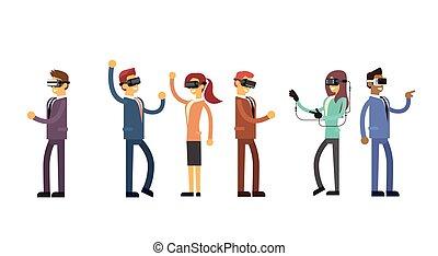 geschaeftswelt, kopfhörer, leute, mannschaft, tragen, virtuell, gruppe, digital, wirklichkeit, brille