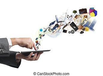 geschaeftswelt, kreativität, mit, a, tablette