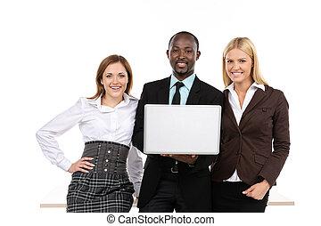 geschaeftswelt, laptop, drei, besitz, leute