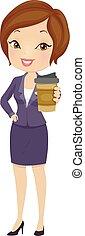 geschaeftswelt, m�dchen, bohnenkaffee, abbildung