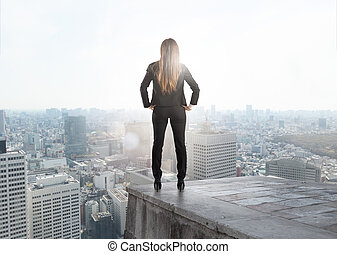 geschaeftswelt, opportunity., geschäftsfrau, schauen, zukunft, neu