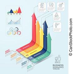 geschaeftswelt, pfeile, infographics, template., buechse, sein, gebraucht, für, workflow, plan, diagramm, zahl, optionen, netz- design, und, timeline.