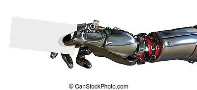 geschaeftswelt, roboter, fragen hand ausweis