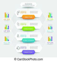 geschaeftswelt, sechseck, infographics, template., buechse, sein, gebraucht, für, workflow, plan, diagramm, zahl, optionen, netz- design, und, timeline.